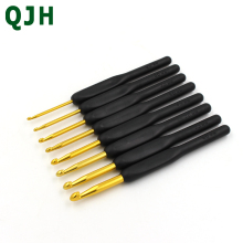 Knitting Tools Sweater Needles QJH 1 set/8 pcs Plastic Black Soft Handle Big Gold Crochet Aluminum Hooks Knit Weave Craft RX156