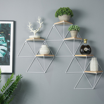 Wall Shelf Decoration Wall Plaid Simple Creative Wood Shelf Wall Hanging Shelf
