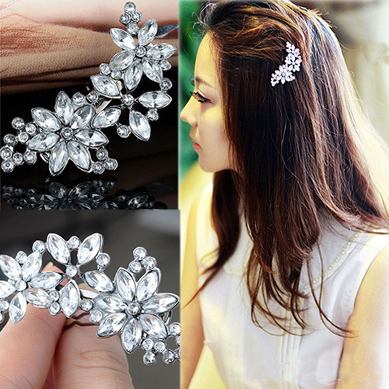 Female Bride Bridesmaid Rhinestone Flower Crystal Hair Clip Comb Jewelry Beautiful Hairpins Hairclips HairgripsHeadwear Barrette