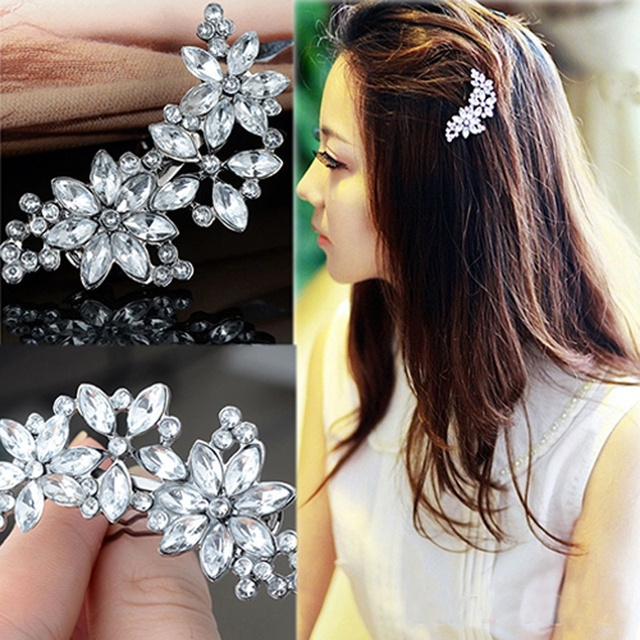 Kadın Gelin Nedime Rhinestone Çiçek Kristal saç tokası Tarak Takı Güzel Tokalar tokalar HairgripsHeadwear Barrette