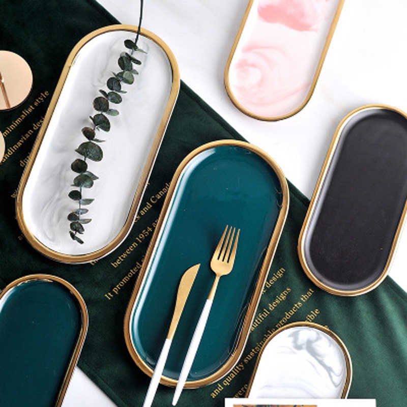Gold Plating Ceramic Marble Storage Tray Black White Europe Food Fruit Breakfast Oval Plate Jewelry Tray Dessert Dish Decoration