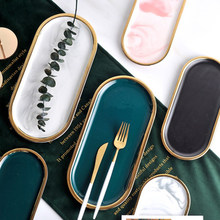 Plateau de rangement en céramique plaqué or marbre, noir blanc Europe aliments fruits petit déjeuner assiette ovale plateau à bijoux, décoration de plat à Dessert