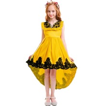 Vintage Elegant Girls Dress for Kids Party High Low Princess Trailing Dresses Photography Fashion New