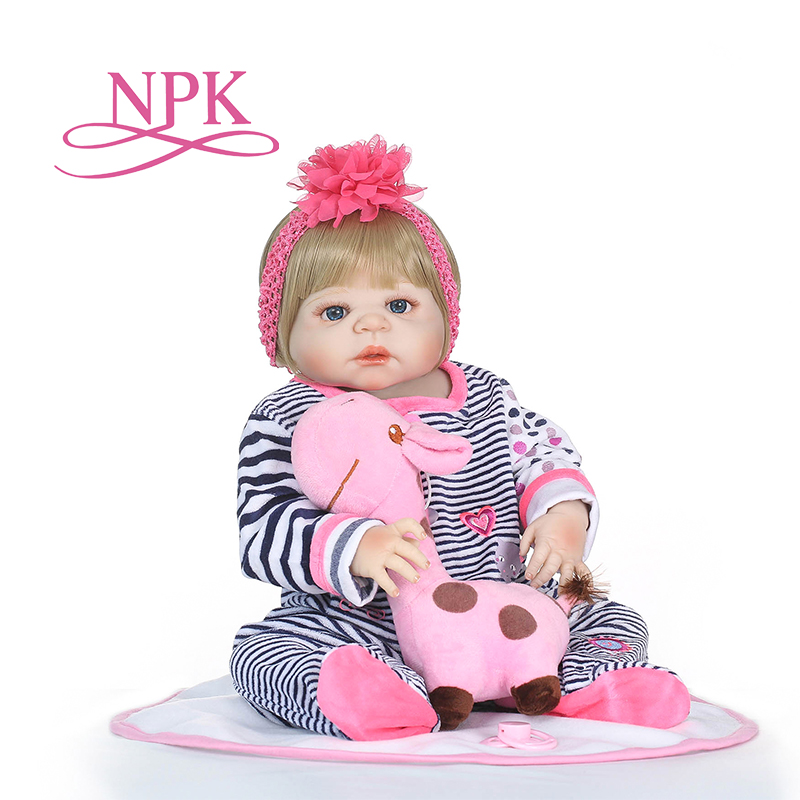 NPK 57cm Full Silicone Body Reborn Baby Doll Realistic Soft silicone Reborn Babies Girl Adorable Bebe Kids Brinquedos boneca Toy keiumi 23 babies girl reborn baby doll full body silicone vinyl realistic 57 cm princess new born boneca reborn boneca gifts