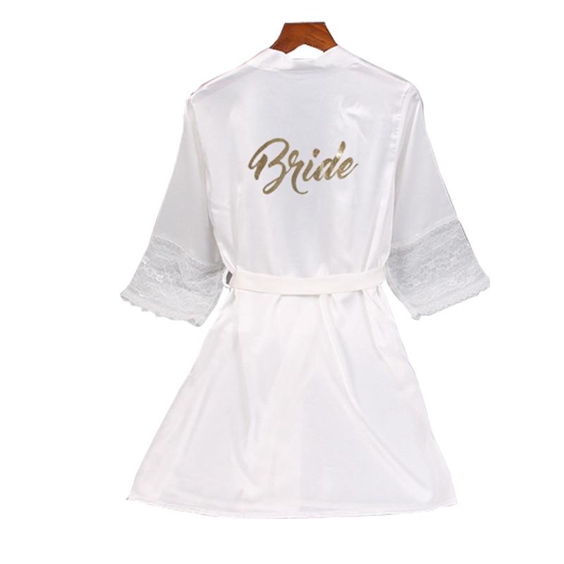 Lace sleeve sexy women nightwear robes plus size gold letter wedding kimono satin silk female bathrobes bridemaids robes