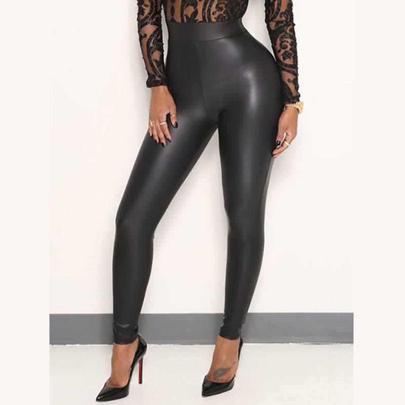Women Ladies Stretchy Faux Leather Trousers Skinny High Waist Leggings Pencil Pants Black Full Length