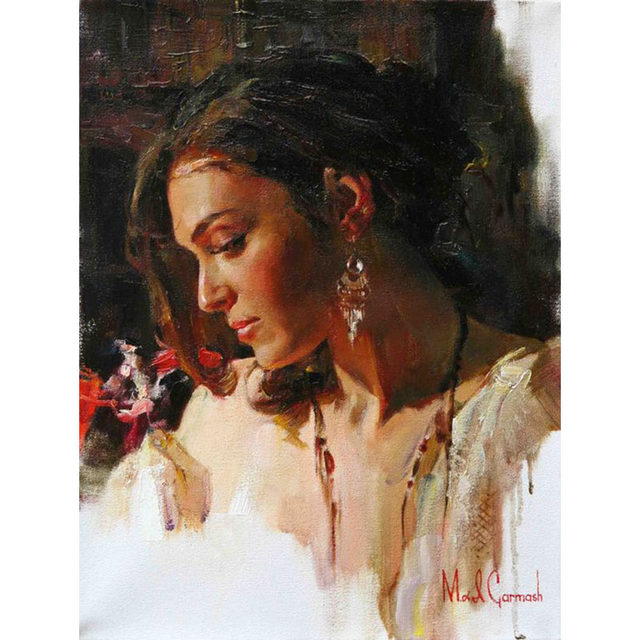 online shop hand painted oil painting top quality beauty detail lady