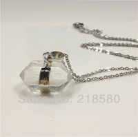 H QN08 5pcs Lot Clear Quartz Crystal Necklace 24K Gold Plated Or Silver Plated Chain 18