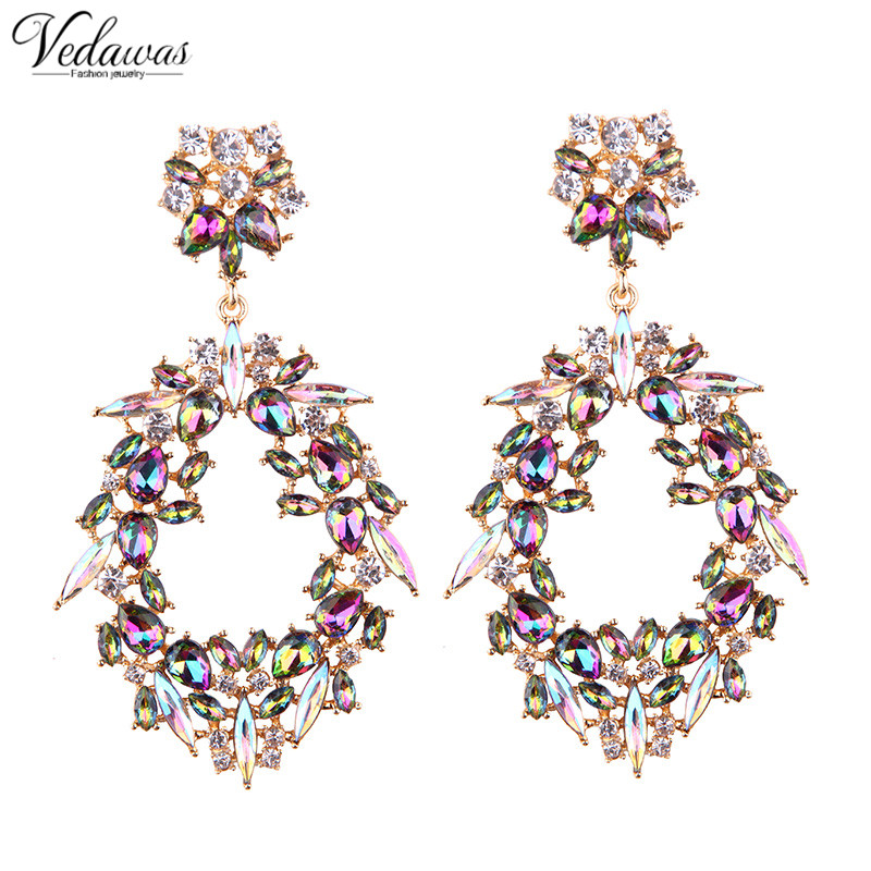 Vedawas Fashion Muulticolor Crystal Stud Earrings For Women Good Quality Rhinestone Statement Earring Jewelry Wholesale 1753