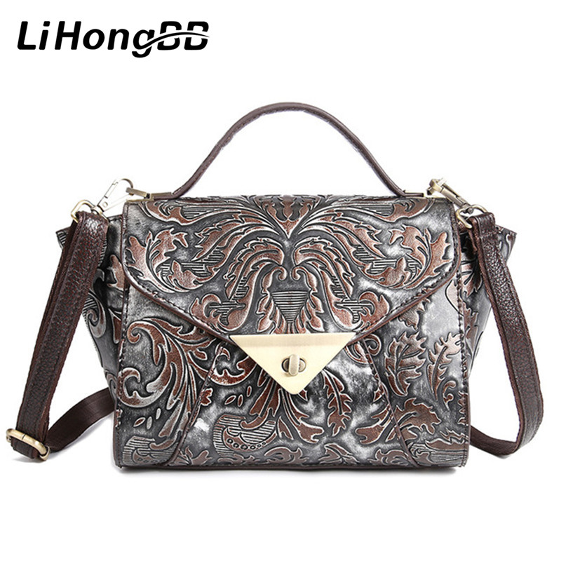 Famous Brand Women Bag Genuine Leather Vintage Handbags Luxury Female Messenger Shoulder Bags Small Tote Bag Floral Printing hot sale 2017 vintage cute small handbags pu leather women famous brand mini bags crossbody bags clutch female messenger bags