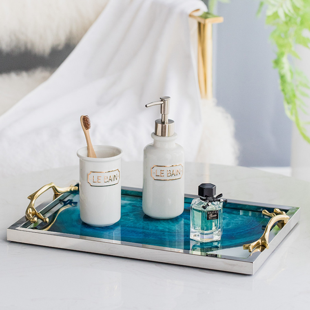 Image 5 - Modern Light Luxury Lake Blue Agate Pattern Rectangular Living Room Kitchen Glass Cup Tray Table Storage Tray Serving Platter-in Storage Trays from Home & Garden