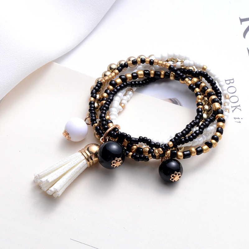 SUKI Bohemian Style Beaded Bracelets for Women Ethnic Boho Leather Tassel 6 Multilayer Bracelet Stretch Bangle Wristband Jewelry
