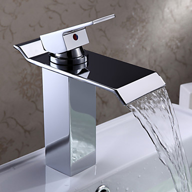 Chrome Finish Single Handle Waterfall Water Sink Basin Faucet Tap For Bathroom, Torneira Para De Banheiro Monocomando contemporary chrome finish single handle bathroom sink faucet silver