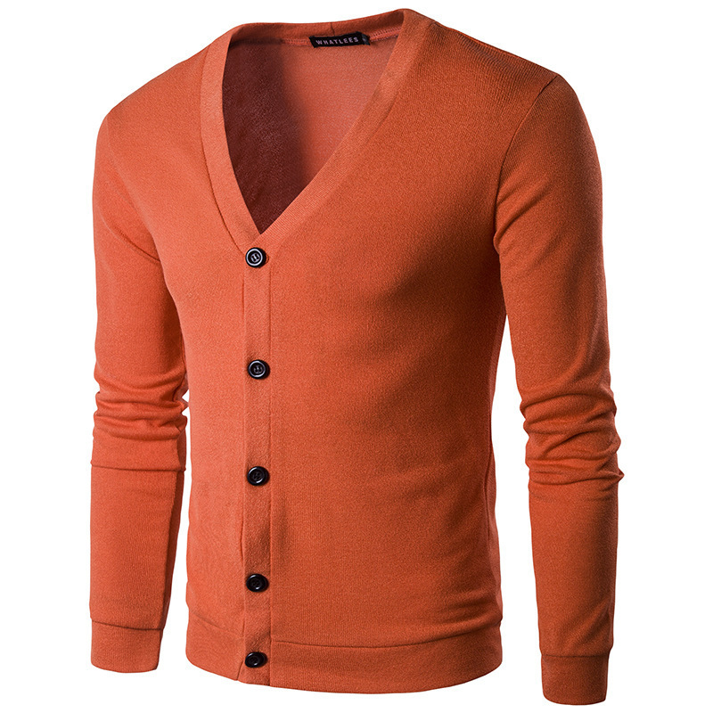 Men's Multicolor Button Collar Cardigan Casual Sweater Knit Tops Solid Color Sweater Jacket Men's Wear