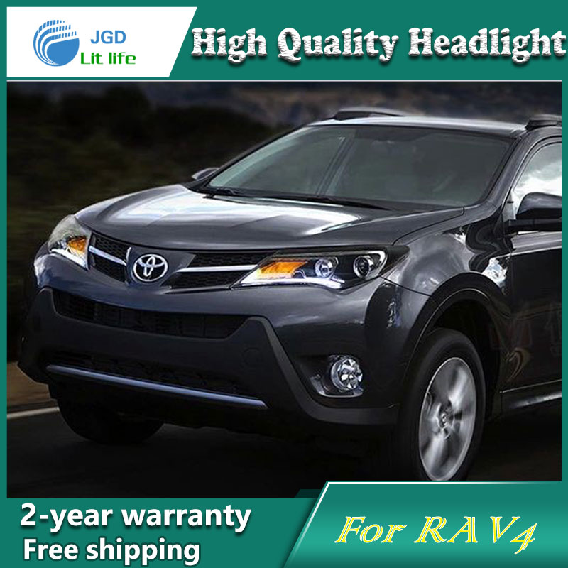 high quality Car Styling for Toyota RAV4 2014 Headlights LED Headlight DRL Lens Double Beam HID Xenon Car Accessories hireno headlamp for 2016 hyundai elantra headlight assembly led drl angel lens double beam hid xenon 2pcs
