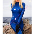 Mujeres traje de látex fetiche catsuit de goma Azul Transparente con cremallera de la espalda debajo de la entrepierna más el tamaño Jumpsuit