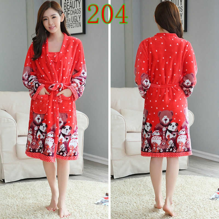 2PCS Sexy Thick Warm Flannel Robes Sets for Women 2018 Winter Coral Velvet Lingerie Night Dress Bathrobe Two Piece Set Nightgown 253