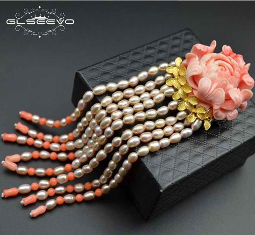 GLSEEVO Luxury Coral Flower Natural Fresh Water Pearl Tassel Brooches For Women Pendant Dual Use Fine