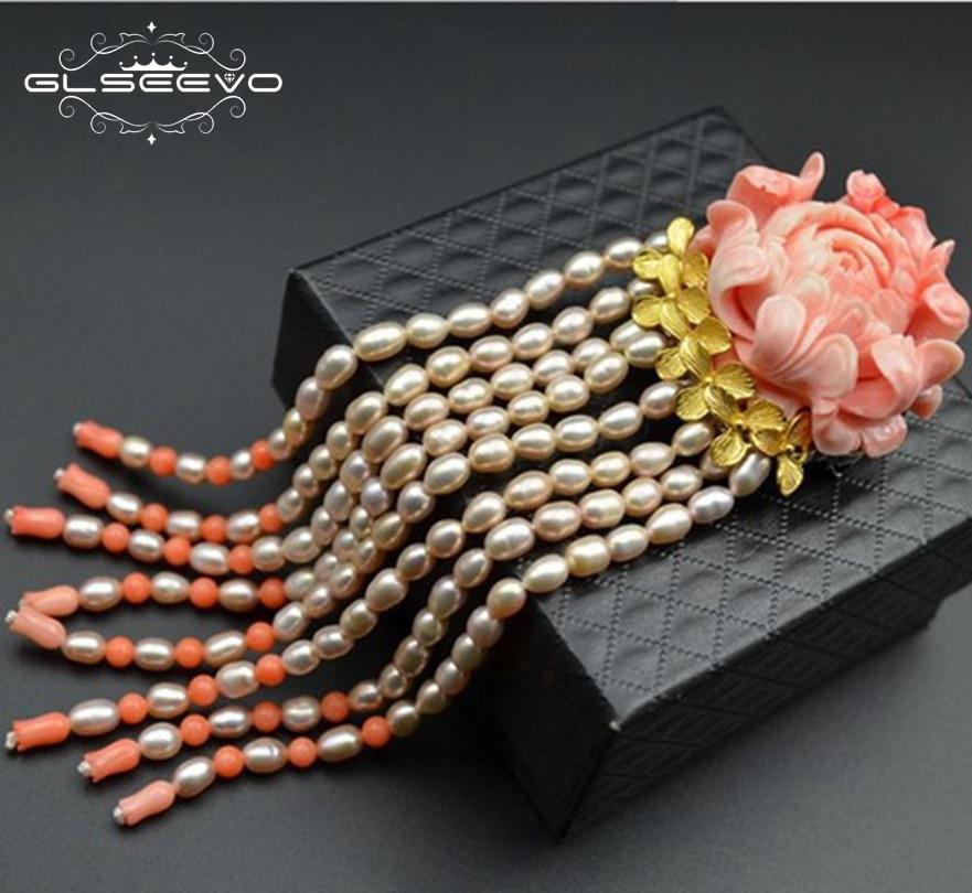 GLSEEVO De Luxe Fleur De Corail Naturel D'eau Douce Perle Gland Broches Pour Femmes Pendentif À Double Usage Joaillerie GO0040