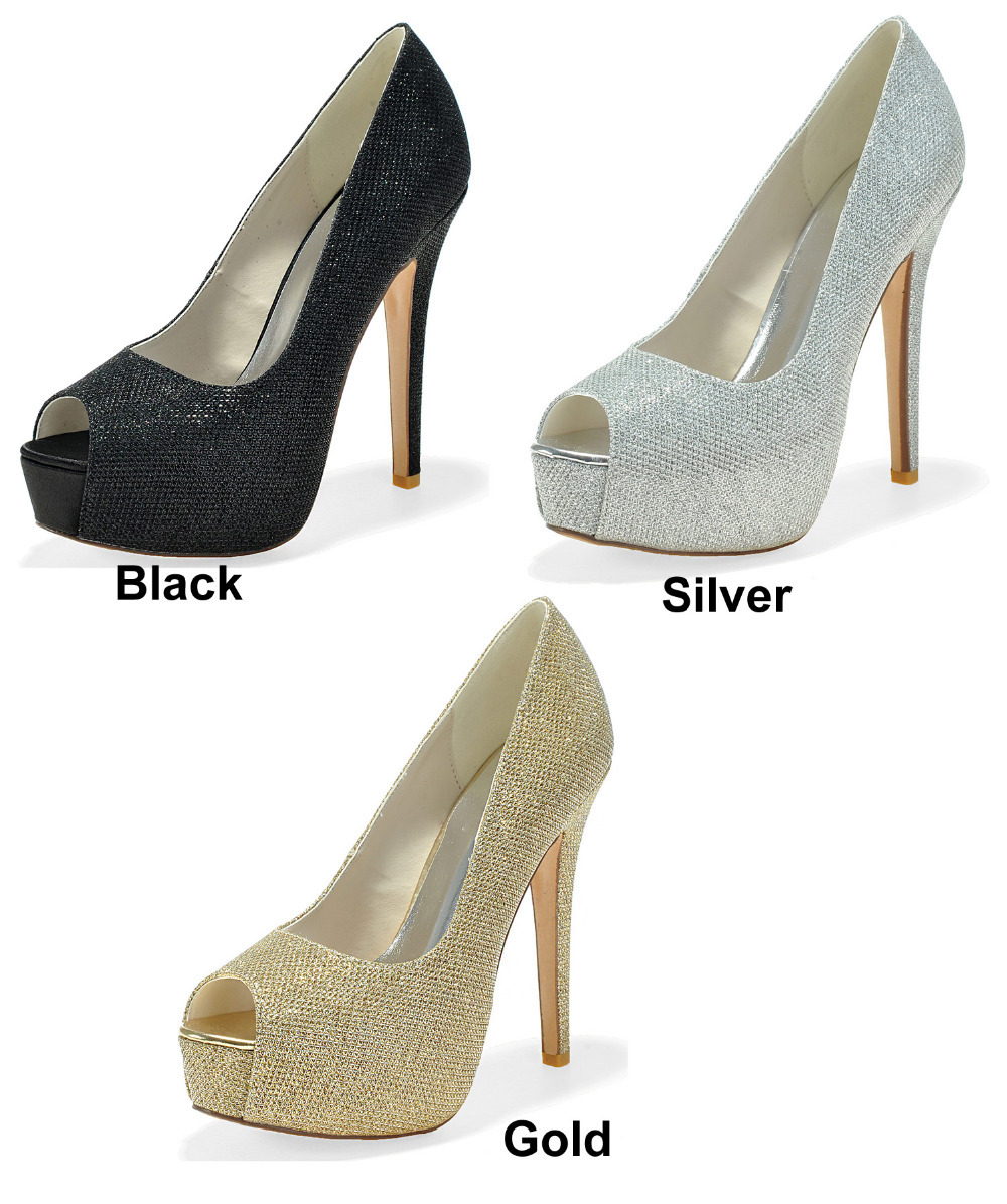 black silver sparkly open toe heeled shoes