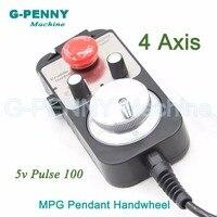 Free shipping 4Axis MACH3 100 pulse 12v MPG handwheel with emergency switch, Electronic handwheel 4 Axis MPG Pendant Handwheel