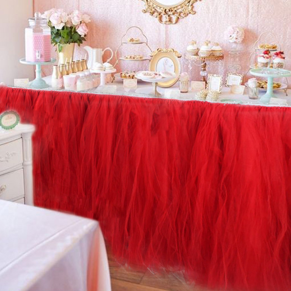 Ourwarm 10pcs DIY Table Skirting Customize Handmade Tulle Tutu Skirt Wedding Decoration Baby Shower Party Supplies Pink In Decorations From