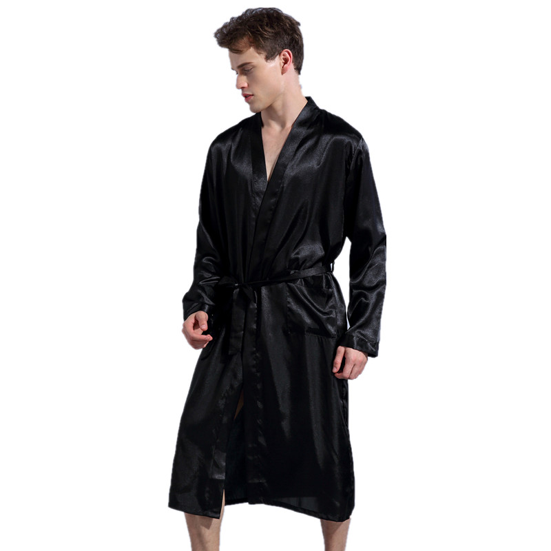 Black Long Sleeve Chinese Men Rayon Robes Gown New Male Kimono Bathrobe Sleepwear Nightwear Pajamas S M L XL XXL