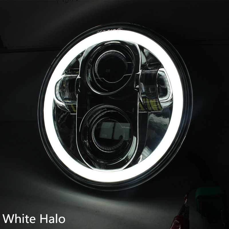 Chrome 5 75inch Round Headlamp with white halo LED Headlight Auxiliary Lamp for motor Sportster Moto
