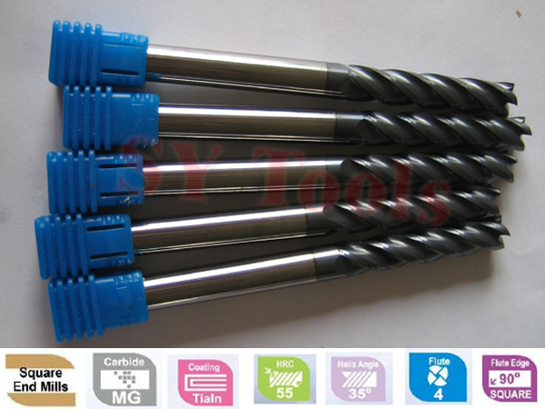 1 bag (60pcs)  Free shipping Flat End Mills  hrc45 CNC solid carbide milling tools cutters