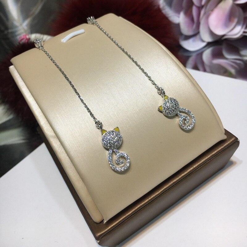 Fashion New Arrival Real 925 Sterling Silver Long Tassel Cat Pendant Earrings High Quality Women Zircon Drop Earrings