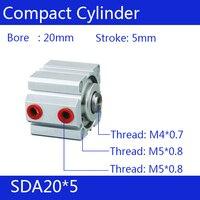 Sda20 * 5 frete grátis 20mm furo 5mm curso compactos cilindros de ar sda20x5 dupla ação ar cilindro pneumático