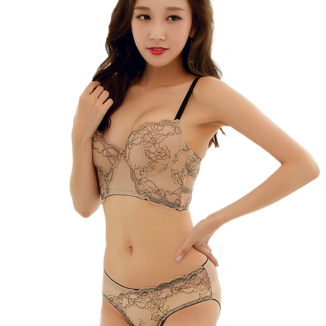 Mingmo 2018 Hot Sexy Image Bra Set Push Up Cozy Fashion Beautiful Back Embroidery Lace Girls Underwear Women Sets 5 Hook And Eye