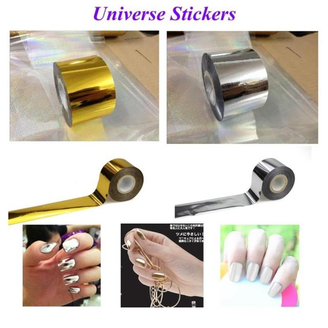 4cm*120m Gold Silver 2 Colors Fashion Transfer Foil Nail Art Stickers Decorations Universe Decals Nails Tools JH104