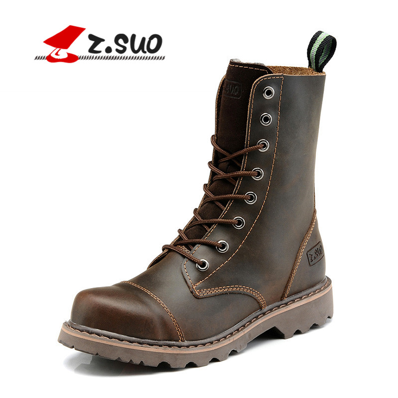 Z.SUO Autumn Mid-Calf Genuine Leather Martin Boots Men Cowboy Tactical Boots Lace-up Shoes Male Desert Men Boots bota masculina