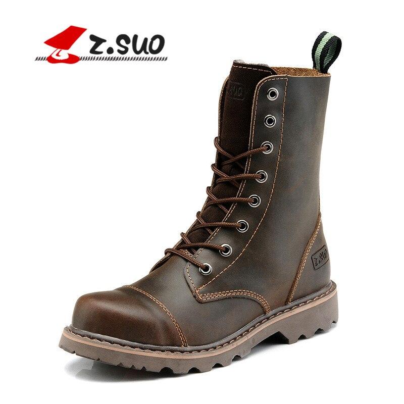 Z. suo/осенние до середины икры Пояса из натуральной кожи ботинки Martin Для мужчин ковбой Армейские ботинки Кружево-Up Обувь мужской пустыни Мужс...
