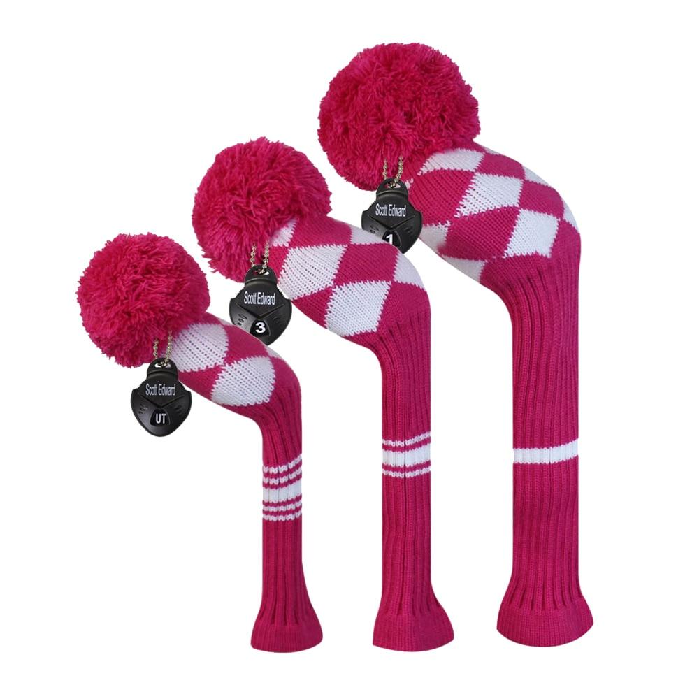 Розовая / Белая Классическая Женская Головная Уборная Головка для Гольфа с Аргилем в наборе из 3 штук для Водителя / Фарватера / Гибрида