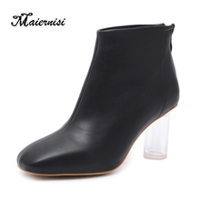MAIERNISI Womens Ankle Boots Sexy Pumps Winter Soft Leather High Heeled Shoes Lady Fashion New Crystal Heel Big Size