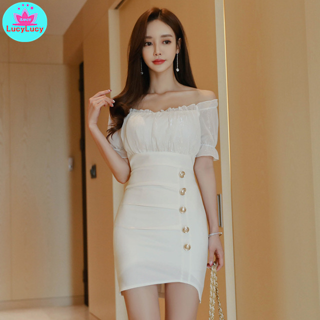 Women's 2019 summer new Korean version of the ladies temperament word collar wooden ear high waist hip dress