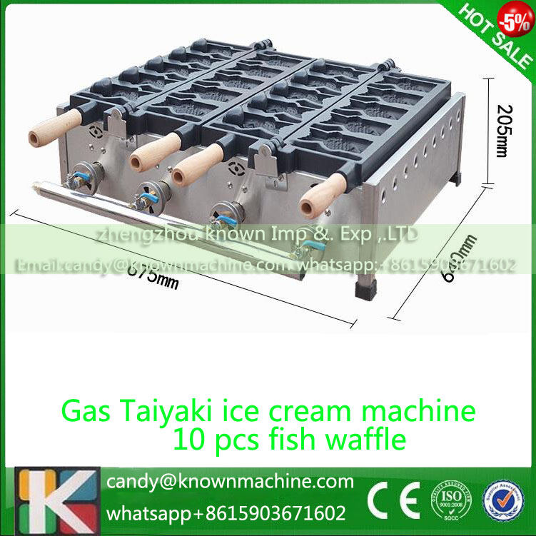 Gas Commercial Ice cream Fish Taiyaki maker 10 pcs fishes