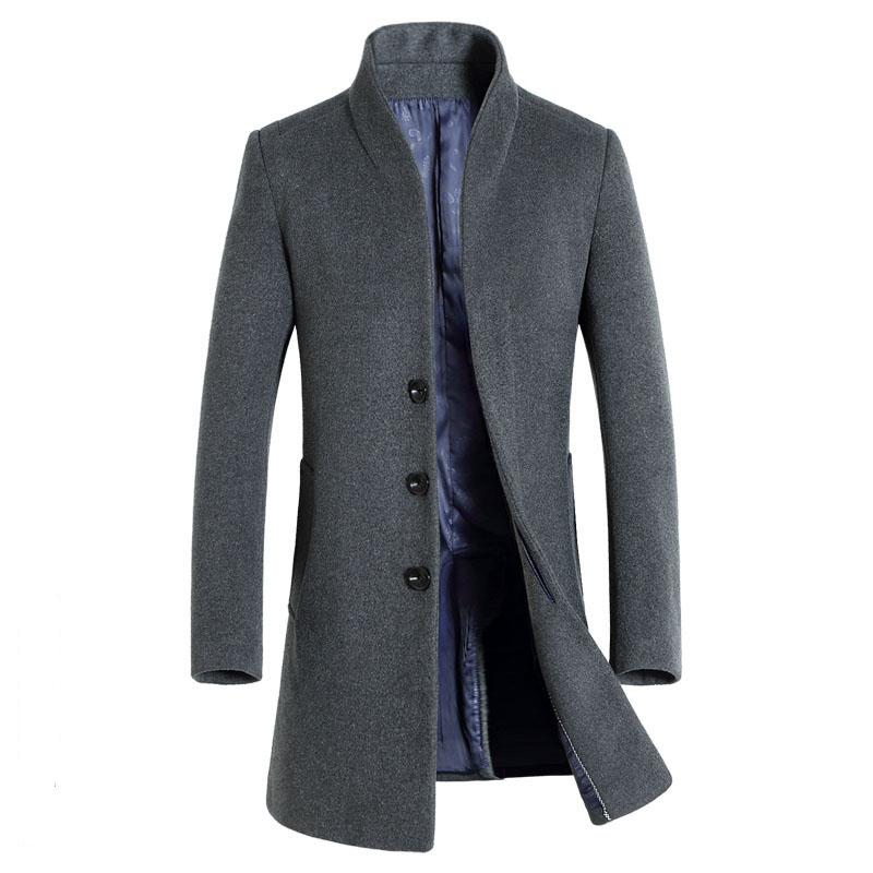 Mannen Winter Blends Wol Jas In Wollen Erwt Mode Casual Overjas Lange Heren Jassen amp; Gloednieuwe SBtzwvx