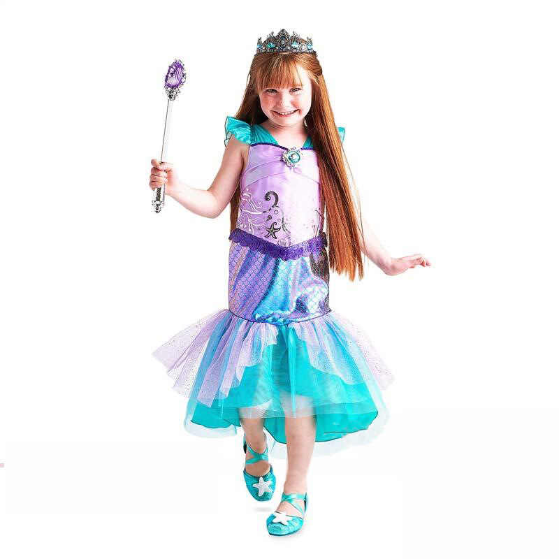 56635809ddce5 Halloween Girls Dress Little Mermaid Princess Dress Ariel Costume Prom  Dresses Tulle Sequin Shimmer Shine for