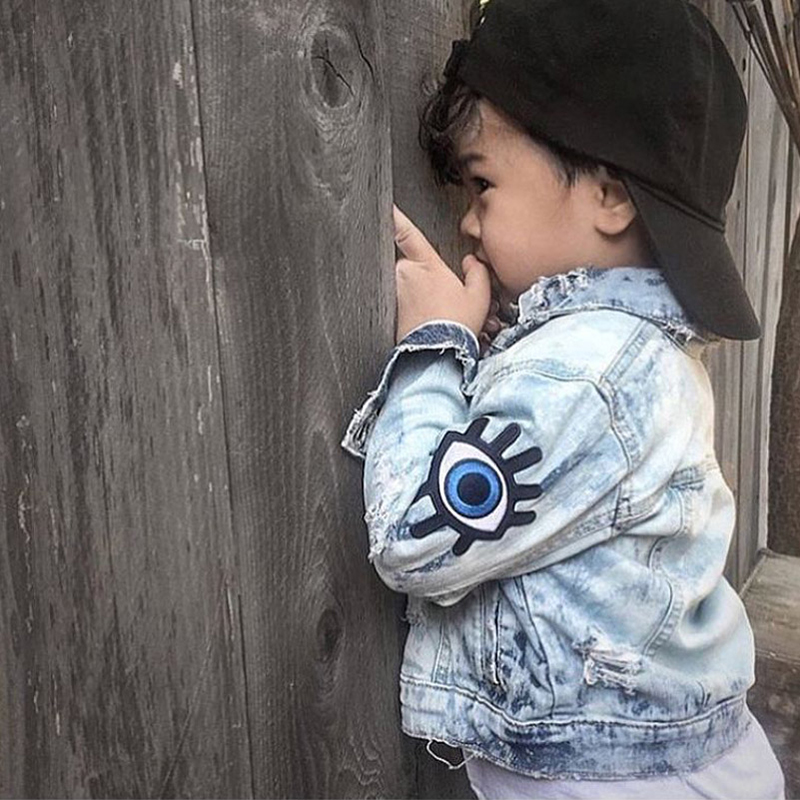 Baby Girls Denim Coats Vintage Jeans Jackets for Girl Toddler Denim Jackets Big Eyes Embroidery Kids Boys Denim Jacket Outerwear scratch kids girls outerwear denim jeans jackets for children embroidery flower baby girl coats infant autumn clothing outfits