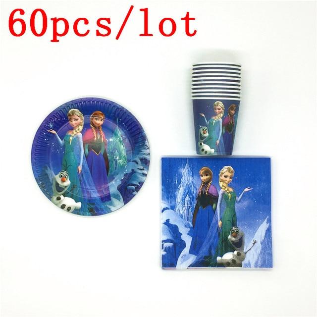 60Pcs/lot Disney Frozen Theme Princess Elsa Anna Paper Cup Plate Napkin Girl Birthday Party Baby Shower Decoration Set Supply
