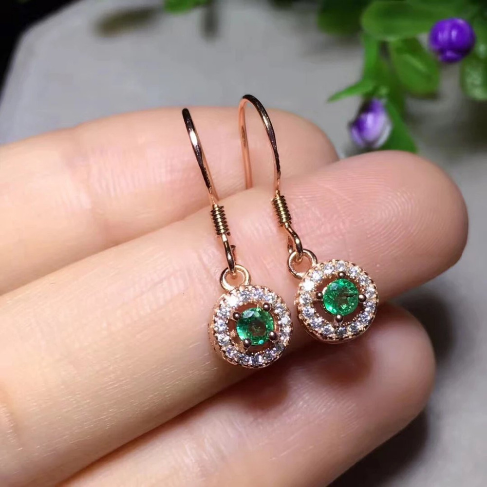 2017 Rushed Qi Xuan_Fashion Jewelry_Colombia Green Stone Round Earrings_Rose Gold Color Green Earrings_Factory Directly Sales 2017 rushed qi xuan red stone bangles
