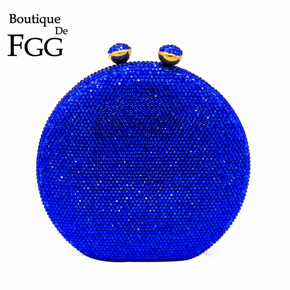 Boutique De FGG Dazzling Big Round Royal Blue Crystal Women Evening Clutch Bags Hard Case Metal