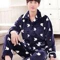 330142/Engrosamiento/Franela/Hombres/traje de Pijama/Coral cachemira invierno del Otoño/ropa de Hogar/tejidos cómodos/