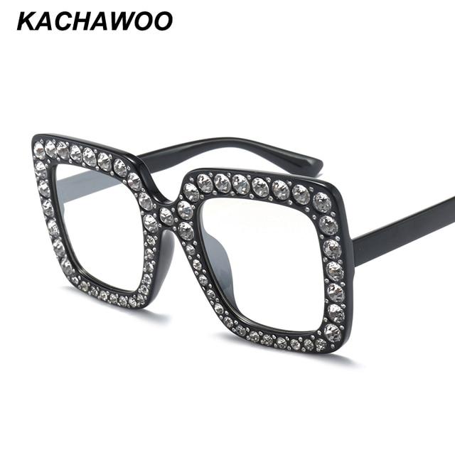 ba6313c13c7 Kachawoo wholesale 6pcs oversized eyeglasses big size square luxury  rhinestone glasses frames for women 2018 fashion