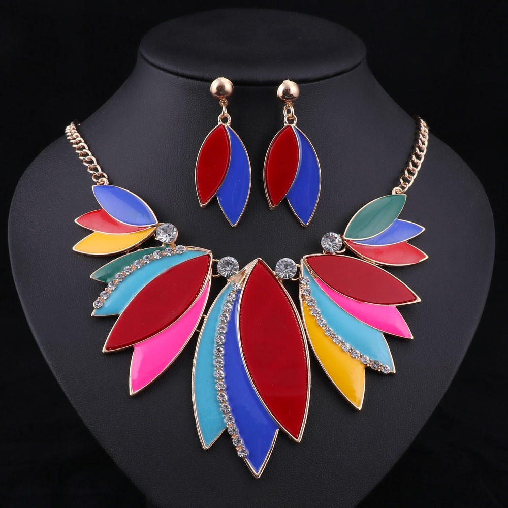 Colorful Choker with Clear Crystal Accents Necklace and Earrings Sets