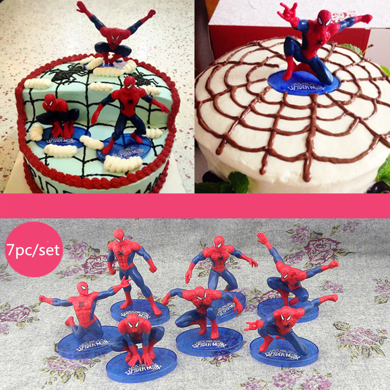 New 7pcs 1set Cool Spiderman Cake Decorating Tools Resin