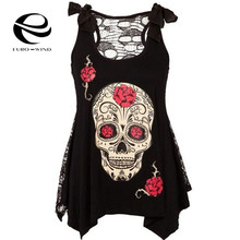 2017 Gothic Punk Style Skull Print See Through Tank Dress Women s Black Asymmetrical Vest Sleeveless Tank Top Shirt with Bow